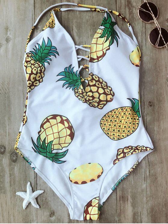shop Shaping Pineapple Plunge One Piece Swimsuit - WHITE M