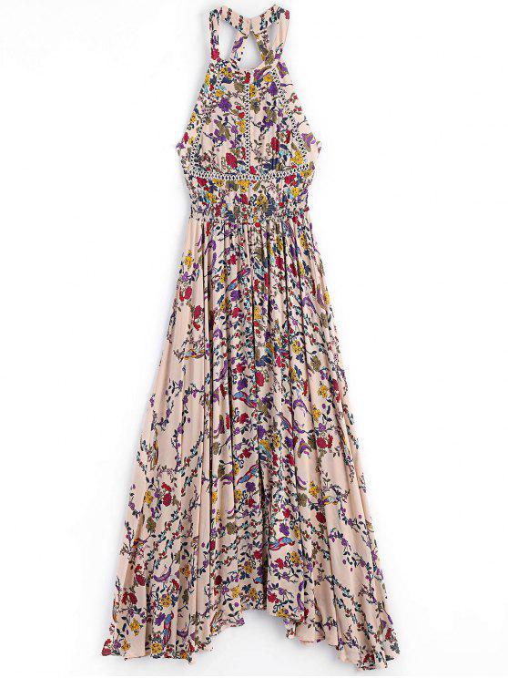 فستان زهري الانقسام قطع ماكسي - الأزهار S