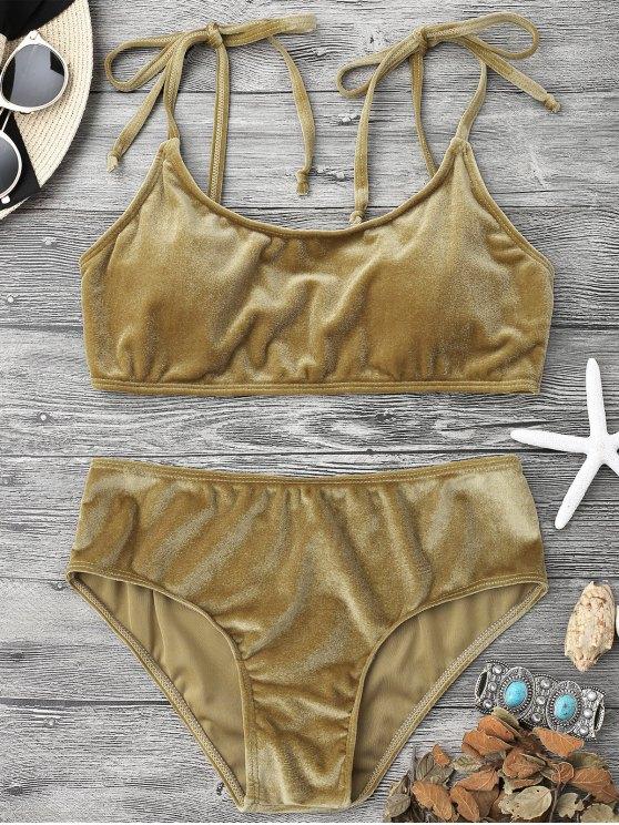 shop Velvet Padded Bralette Bikini Set - BROWN L