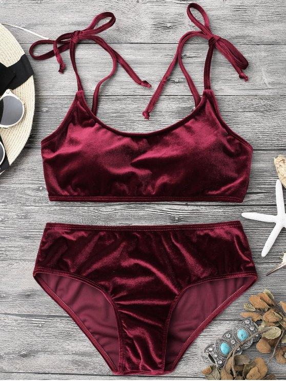 trendy Velvet Padded Bralette Bikini Set - BURGUNDY L