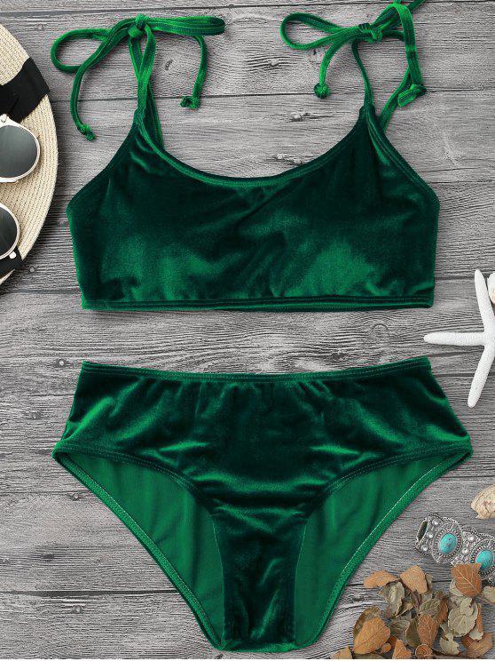 sale Velvet Padded Bralette Bikini Set - GREEN S