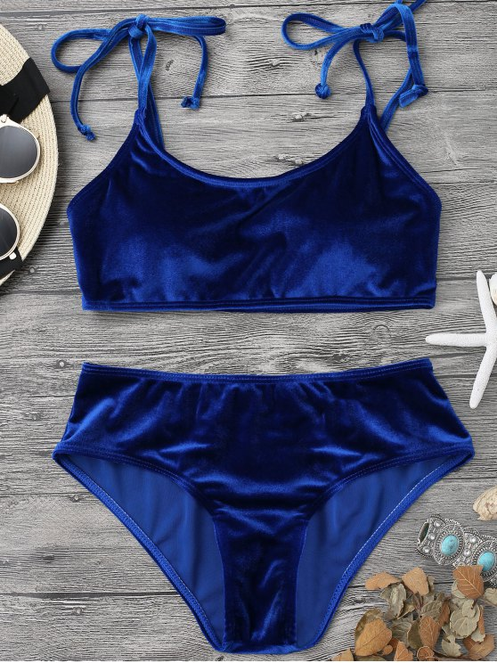 womens Velvet Padded Bralette Bikini Set - SAPPHIRE BLUE S