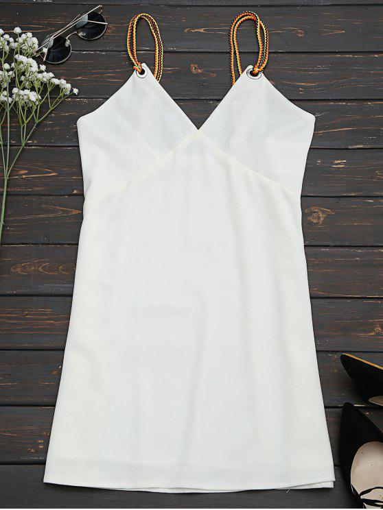 lady Braided Straps Mini Slip Dress - WHITE L