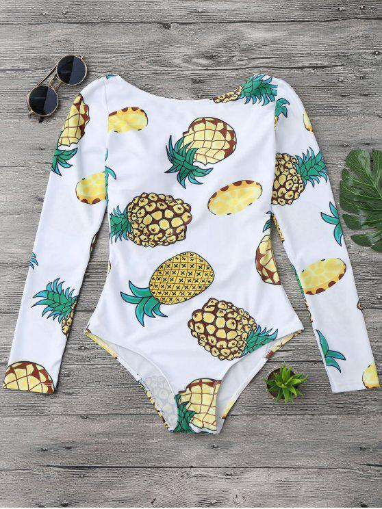 latest Pineapple Rashguard One Piece Swimsuit - WHITE S