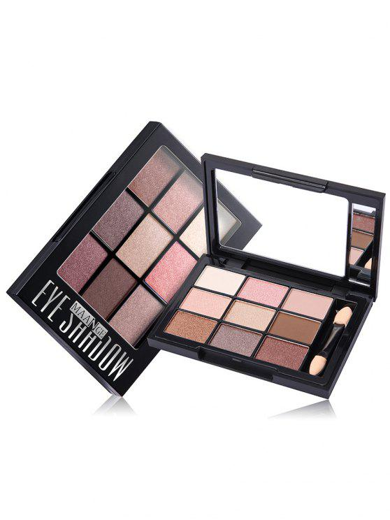 women 9 Colors Eyeshadow Palette with Brush - #03
