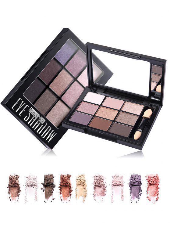Paleta de 9 cores com sombra de olho com escova - Preto do Jato 01#