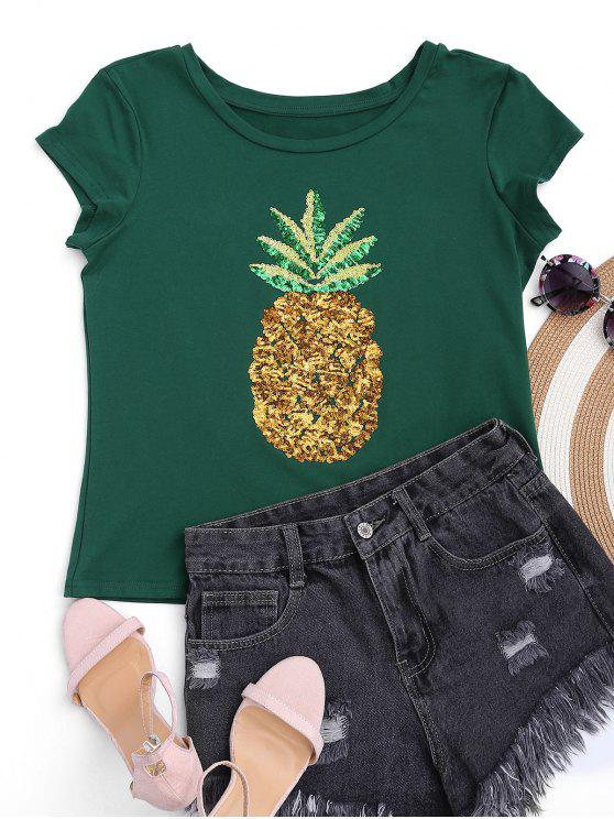 outfits Cotton Pineapple Sequins Top - GREEN L
