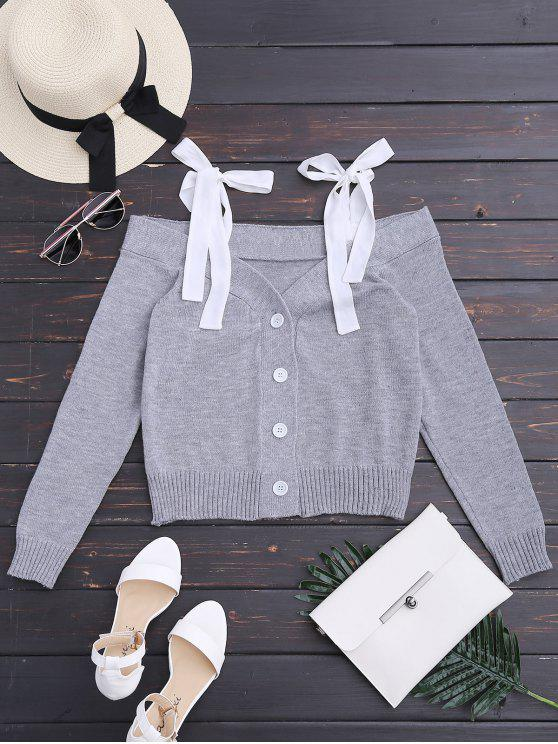 best Knitting Button Up Cold Shoulder Top - GRAY S