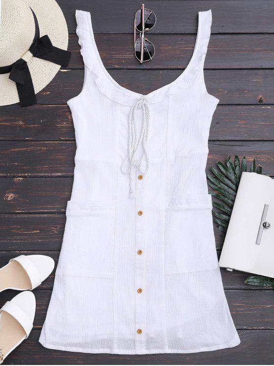 outfits Ruffles Button Up Mini Dress with Two Pockets - WHITE M