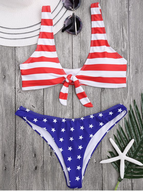 fashion Scoop Front Tied Patriotic Bathing Suit - STRIPE XL