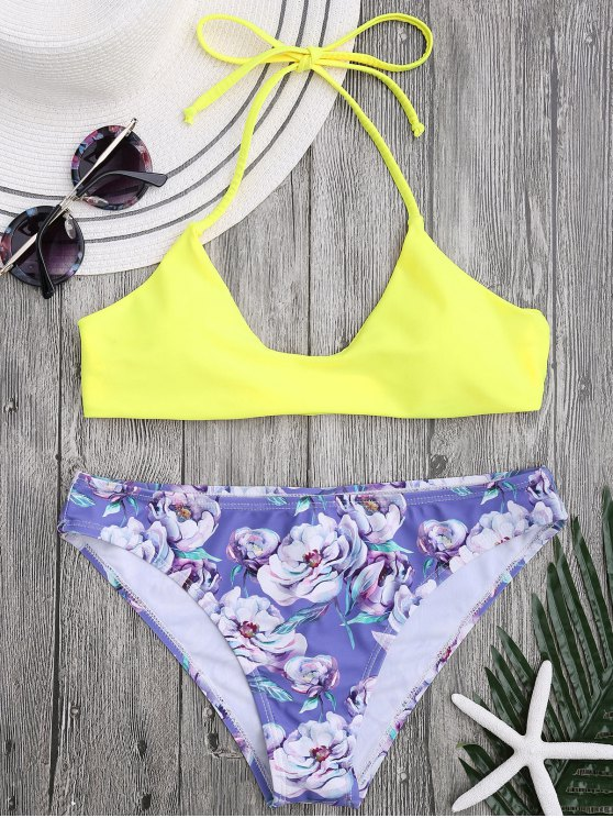 affordable Halter Bra with Floral Swim Bottoms - YELLOW M