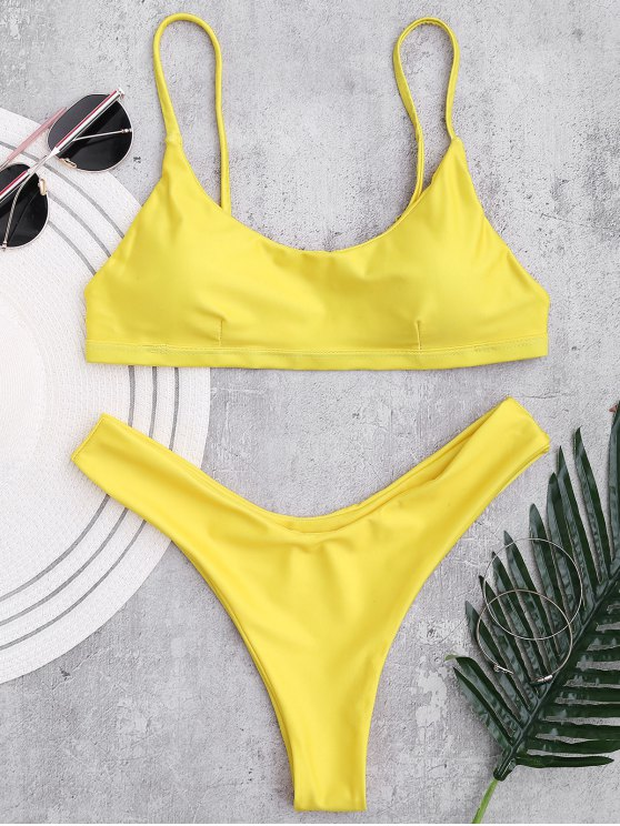 ladies Padded Adjusted Cami Thong Bikini - YELLOW L