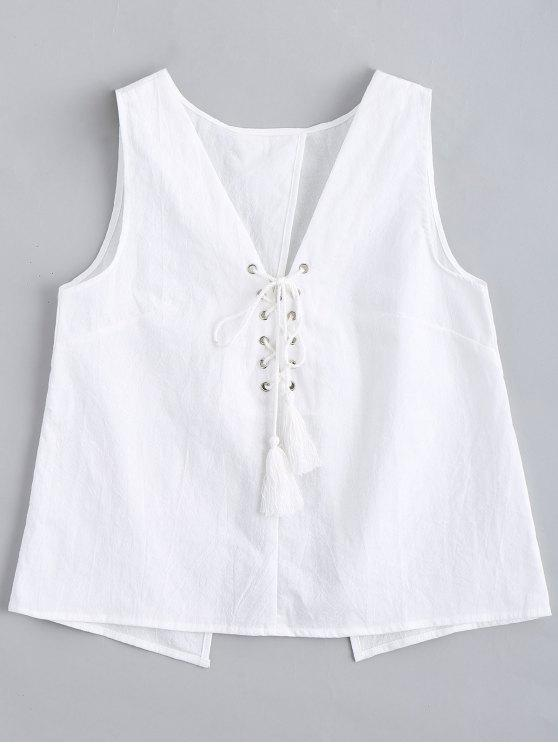 fashion Lace Up Back Slit Tank Top - WHITE XL