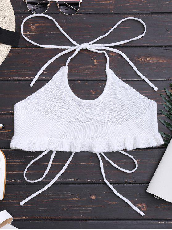 ladies Knitting Ruffles Cropped Tank Top - WHITE S