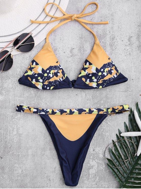 fancy Self Tie Printed Halter Bathing Suit - GINGER L