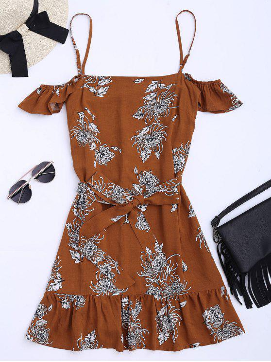 womens Floral Print Ruffled Belted Cami Dress - FLORAL L