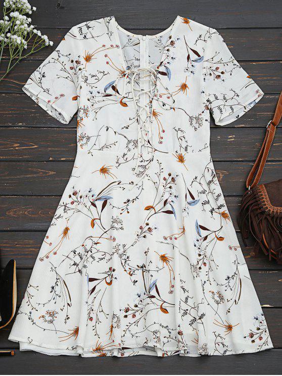 lady Floral Lace Up A-Line Dress - FLORAL M