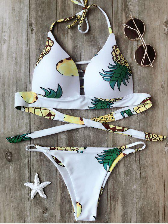 chic Fuller Bust Pineapple Molded Bikini Set - WHITE S