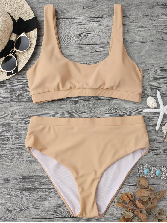 women's Midi Bralette Scoop Bikini Set - YELLOWISH PINK L