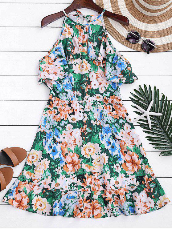 hot High Neck Ruffles Floral A-Line Dress - FLORAL M