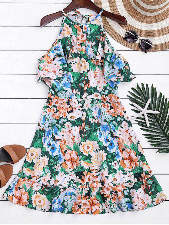 hot High Neck Ruffles Floral A-Line Dress - FLORAL M