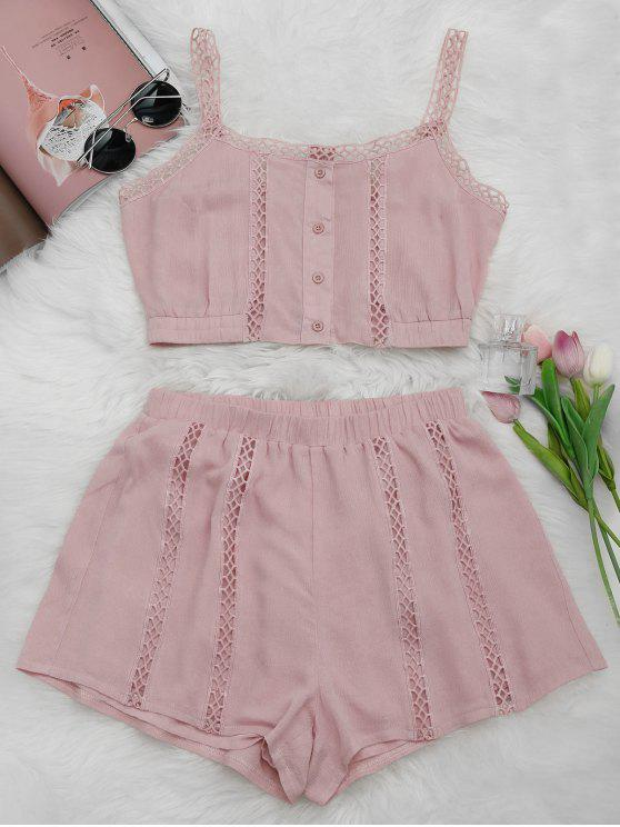 women Button Up Openwork Top and Shorts Suit - PINK S