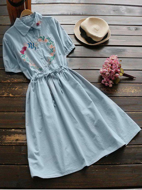 fancy Floral Embroidered Drawstring Flare Dress - BLUE GRAY ONE SIZE