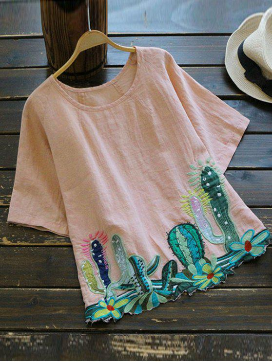 affordable Round Collar Cacti Embroidered Blouse - PINK ONE SIZE