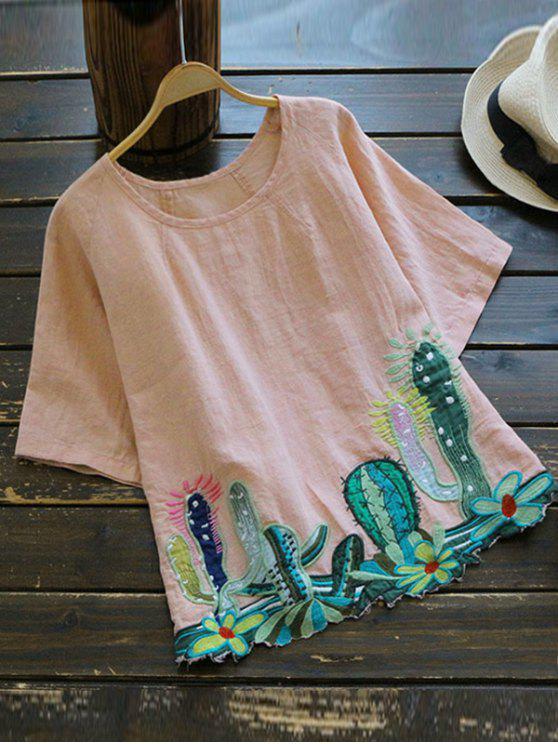 Blusa da gola rondada com  catco bordado - Rosa Tamanho único