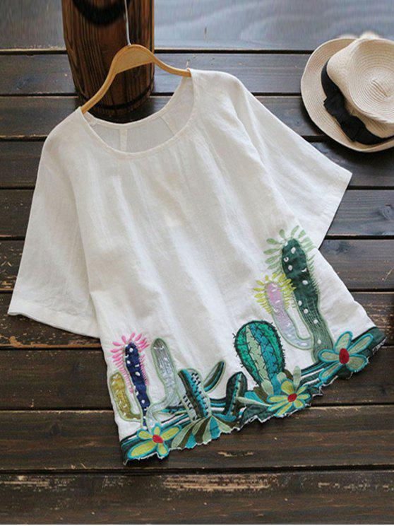 Blouse Col Rond Brodé à Cactus - Blanc TAILLE MOYENNE