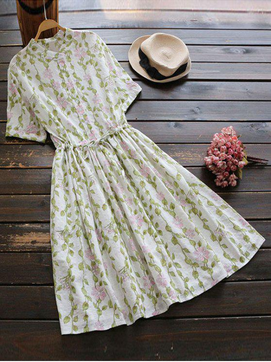 unique Floral Print Drawstring Flare Dress - OFF-WHITE ONE SIZE