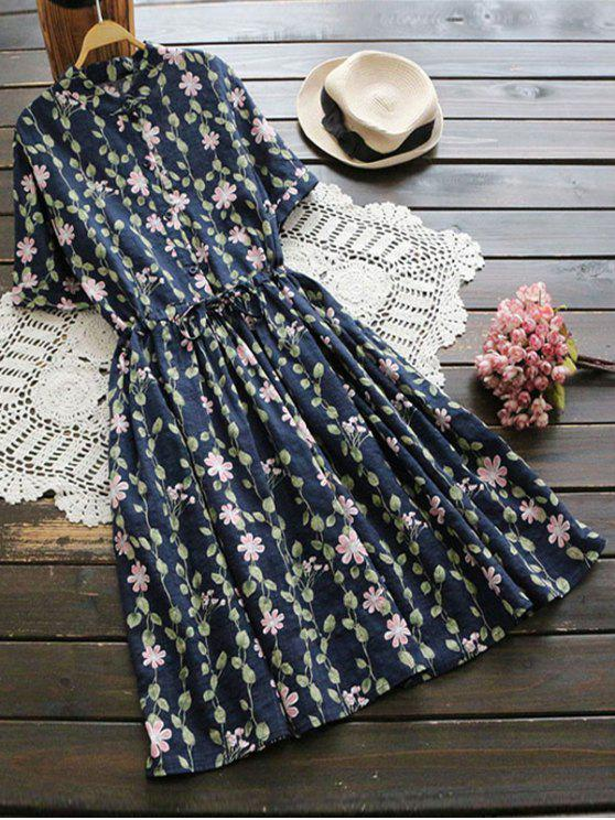 sale Floral Print Drawstring Flare Dress - DEEP BLUE ONE SIZE