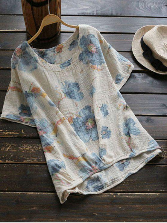women Round Collar Floral Print Blouse - LIGHT BLUE ONE SIZE