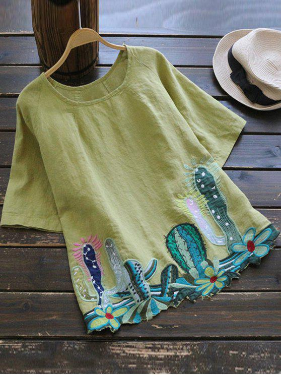 Cuello redondo Cacti blusa bordada - AMARILLO + VERDE Única Talla