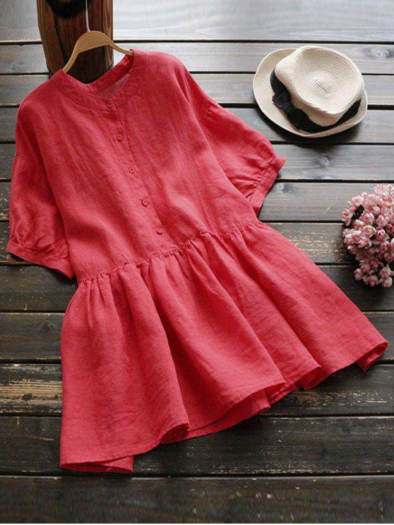 buy Drop Shoulder Ruffle Hem Blouse - RED ONE SIZE