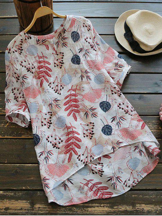 shops Leaves Print High Low Blouse - MULTI ONE SIZE