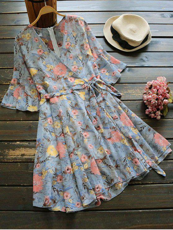 fashion Floral Print Flare Sleeve Surplice Dress - BLUE GRAY ONE SIZE