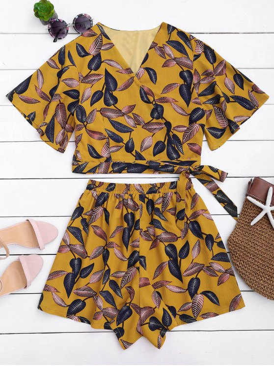 women's Leaves Print Cropped Wrap Top and High Waisted Lined Shorts - YELLOW L