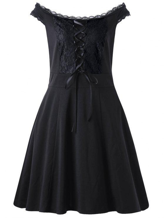 الدانتيل يصل زائد حجم اللباس مصغرة - أسود 4XL