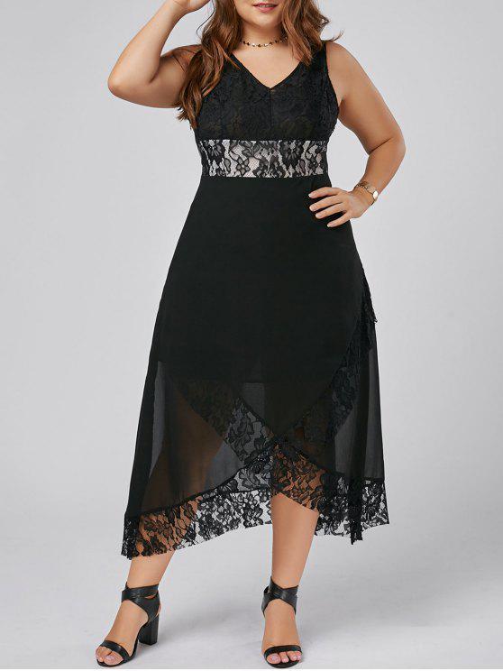 زائد حجم الدانتيل تريم توليب فستان ماكسي - أسود 2XL