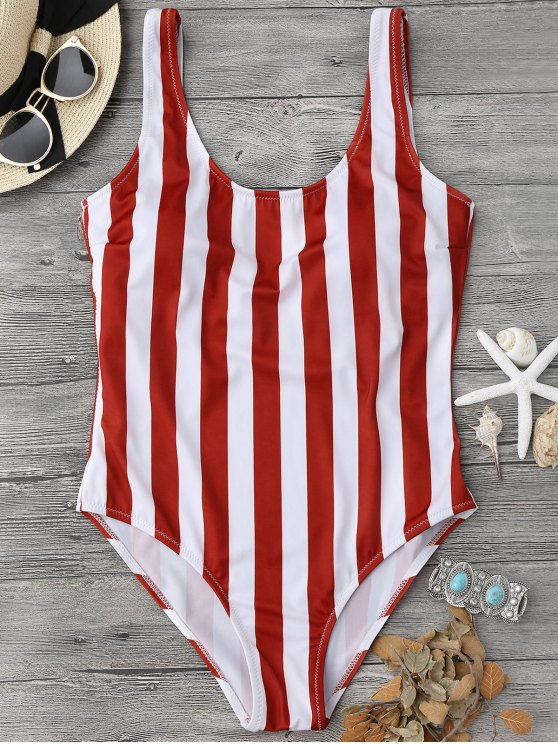 shop Striped Shaping Padded One Piece Swimsuit - RED WITH WHITE S