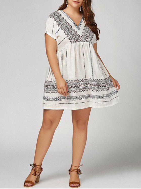 27% OFF] 2019 Plus Size V Neck Bohemian Smock Dress In WHITE   ZAFUL