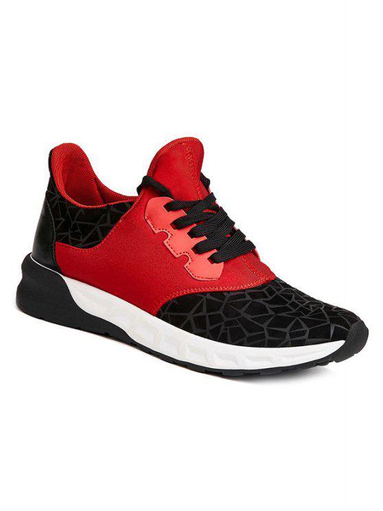 الدانتيل متابعة هندسية طباعة فلوك أحذية رياضية - الأحمر مع الأسود 40