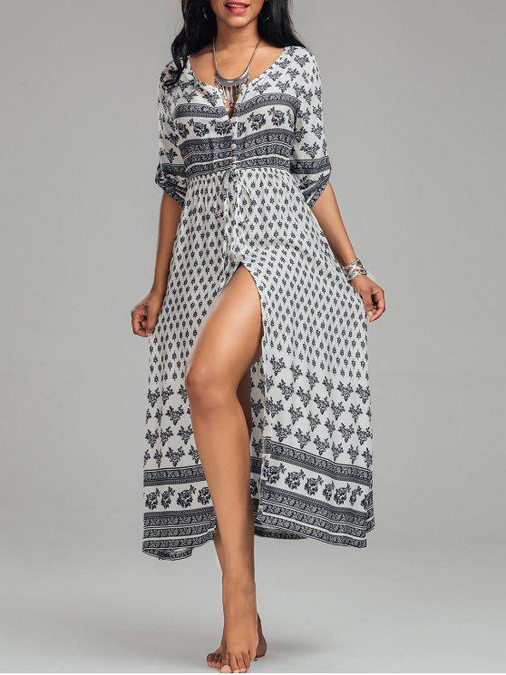 فستان بوهيمي عالية انقسام طباعة قبلية زر - أبيض L
