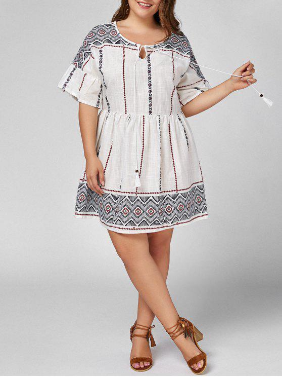 2018 Plus Size Self Tie High Waist Smock Dress In White 4xl Zaful