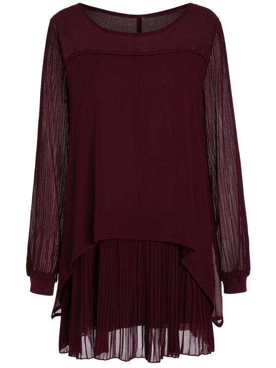 زائد حجم فستان طويل الأكمام الشيفون مطوي البسيطة - نبيذ أحمر 4XL