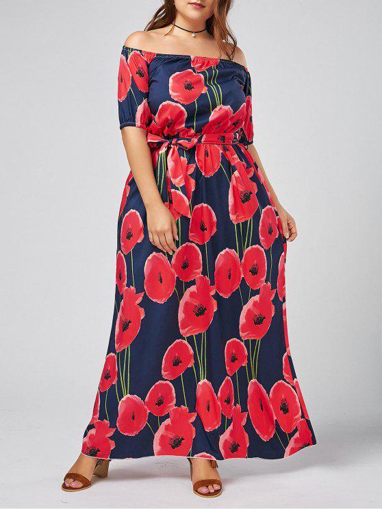 3466605f6b86 new Plus Size Floral Maxi Off The Shoulder Long Beach Dress - DEEP BLUE 3XL