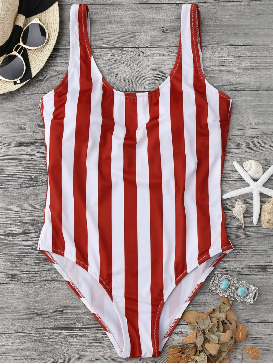 outfit Striped Shaping Padded One Piece Swimsuit - RED WITH WHITE L