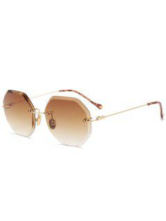 Ombre Geometric Rimless Sunglasses - Tea-colored