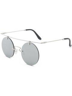 Long Straight Crossbar Round Mirrored Rimless Sunglasses - Silver